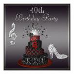 """Disco Diva Cake, Silver Heels 40th Birthday 5.25"""" Square Invitation Card"""