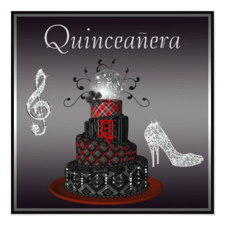 Disco Diva Cake, Silver Sparkle Heels Quinceanera Card