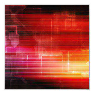 "Disco Electronic Music Techno Party Background Art 5.25"" Square Invitation Card"