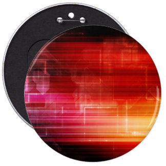 Disco Electronic Music Techno Party Background Art 6 Inch Round Button