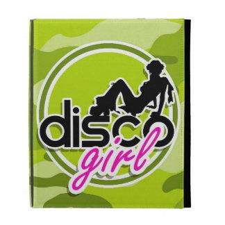 Disco girl bright green camo camouflage iPad folio covers