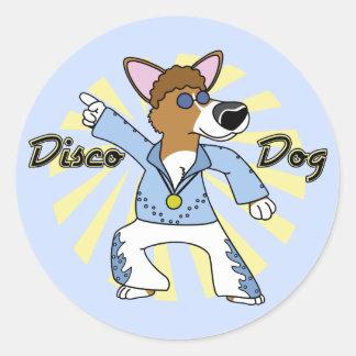 Disco Pembroke Welsh Corgi Classic Round Sticker