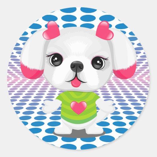 disco shih tzu  round sticker