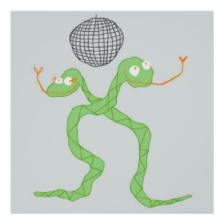 Disco Snakes Poster in Green