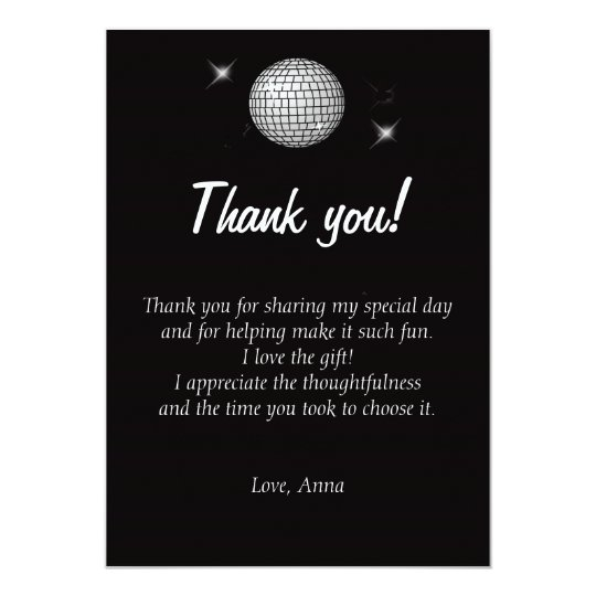 Disco Thank You Card Note Black and White