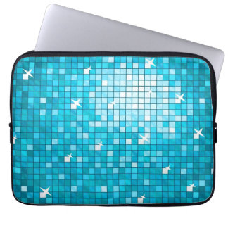 Disco Tiles Blue laptop sleeve 13 inch