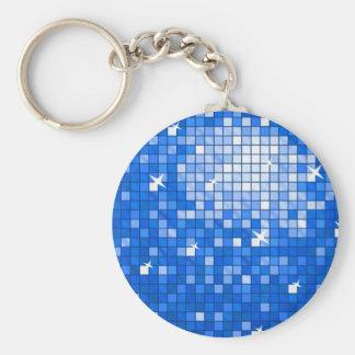 Disco Tiles Dark Blue keychain round