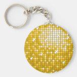 "Disco Tiles ""Gold"" keychain round"