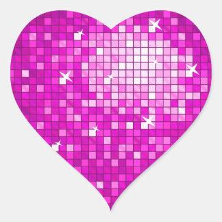 Disco Tiles Pink sticker heart