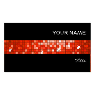 Disco Tiles Red tile stripe black Business Card