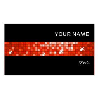 Disco Tiles Red tile stripe black Pack Of Standard Business Cards