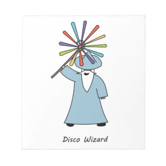 Disco Wizard t-shirt. Notepad