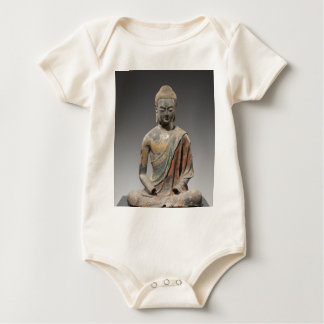 Discolored Buddha Sculpture - Tang dynasty (618) Baby Bodysuit