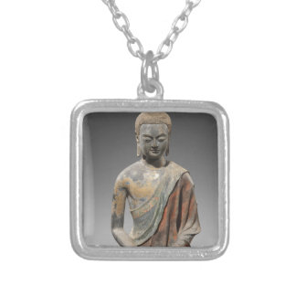 Discolored Buddha Sculpture - Tang dynasty (618) Silver Plated Necklace