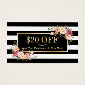 Discount Coupon Classy Gold Floral Beauty Salon Business Card