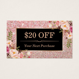 Discount Coupon Rose Gold Beauty Salon Floral Business Card