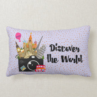 Discover the World European Landmarks with Camera Lumbar Pillow