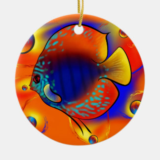Discuremia V1 - abstract digital artwork Round Ceramic Ornament