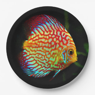 Discus aquarium fish dinner paper plate