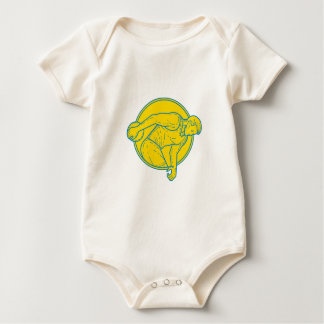 Discus Throw Athlete Side Circle Mono Line Baby Bodysuit