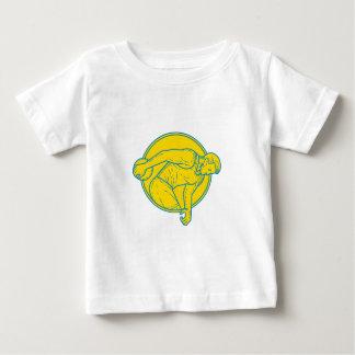 Discus Throw Athlete Side Circle Mono Line Baby T-Shirt