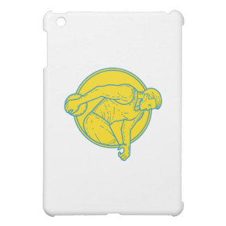 Discus Throw Athlete Side Circle Mono Line iPad Mini Cases