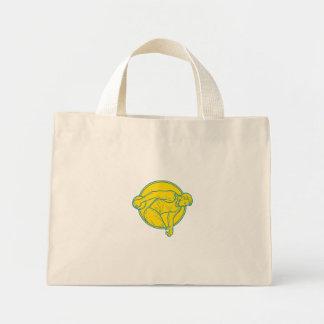 Discus Throw Athlete Side Circle Mono Line Mini Tote Bag