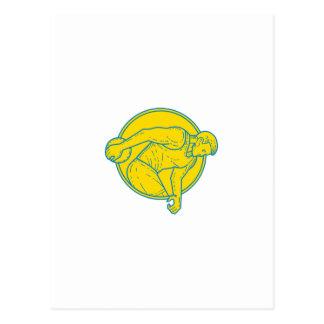 Discus Throw Athlete Side Circle Mono Line Postcard