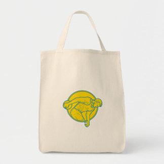 Discus Throw Athlete Side Circle Mono Line Tote Bag