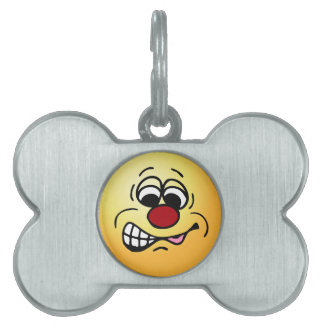 Disgruntled Employee Smiley Face Grumpey Pet Tags
