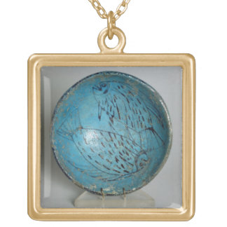 Dish decorated with fish (faience) gold plated necklace