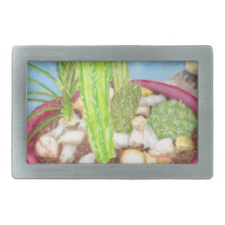 Dish Garden Rectangular Belt Buckles