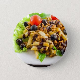 Dish of Italian pasta rigatoni with bolognese 2 Inch Round Button