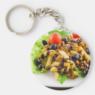 Dish of Italian pasta rigatoni with bolognese Basic Round Button Keychain
