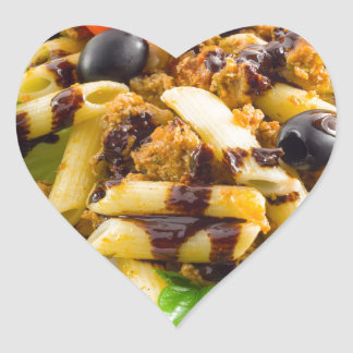 Dish of Italian pasta rigatoni with bolognese Heart Sticker