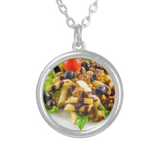Dish of Italian pasta rigatoni with bolognese Silver Plated Necklace