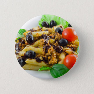 Dish of Italian pasta with bolognese sauce 2 Inch Round Button