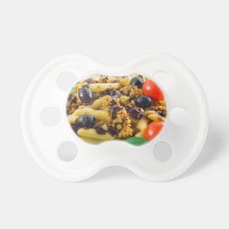 Dish of Italian pasta with bolognese sauce Baby Pacifiers