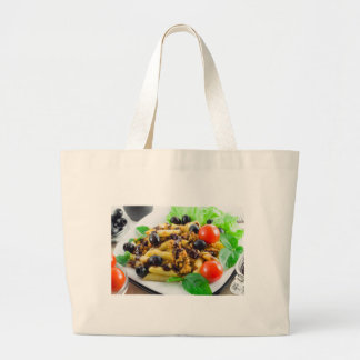 Dish of Italian pasta with bolognese sauce Large Tote Bag