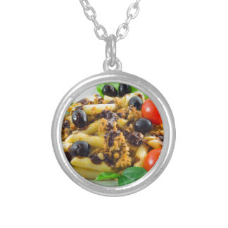 Dish of Italian pasta with bolognese sauce Silver Plated Necklace