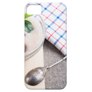 Dish of oatmeal in a bowl of glass case for the iPhone 5