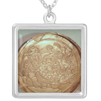Dish with a hunting scene silver plated necklace