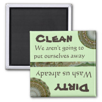 Dishwasher Clean Dirty Magnet Green Funny Artistic