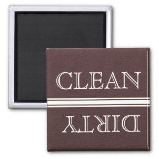 Dishwasher Magnet Clean and Dirty Brown & White