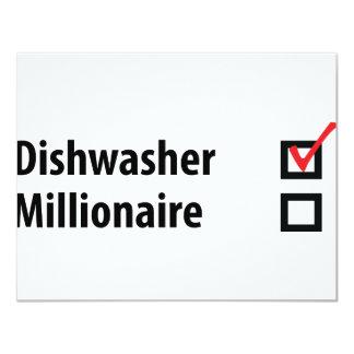 "dishwasher millionaire icon 4.25"" x 5.5"" invitation card"