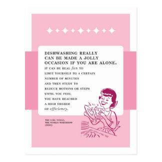 Dishwashing Can Be Fun Vintage Bad Advice Postcard