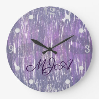 Disillusioned Decor | Monogram Fun Purple Silver | Large Clock