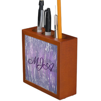 Disillusioned Desk | Monogram Plum Purple Silver | Desk Organizer