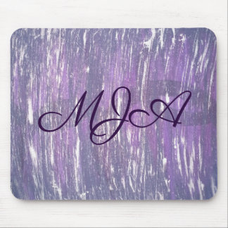 Disillusioned Desk | Monogram Plum Purple Silver | Mouse Pad