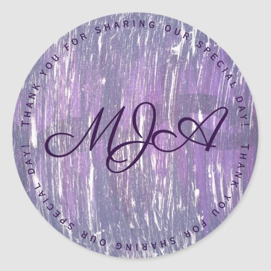 Disillusioned Party | Monogram Purple Silver | Classic Round Sticker